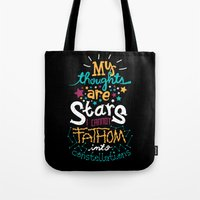 risa rodil Tote Bags featuring My Thoughts Are Stars by Risa Rodil