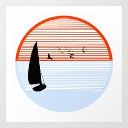 bitone sun with sail Art Print