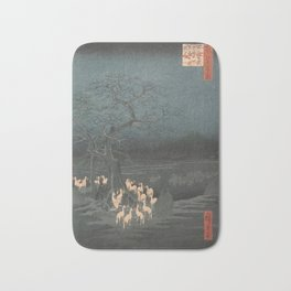 New Year's Eve Foxfires at the Changing Tree, Hiroshige Bath Mat
