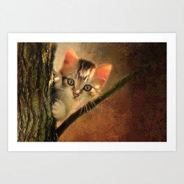 Little cute kitten on a tree Art Print