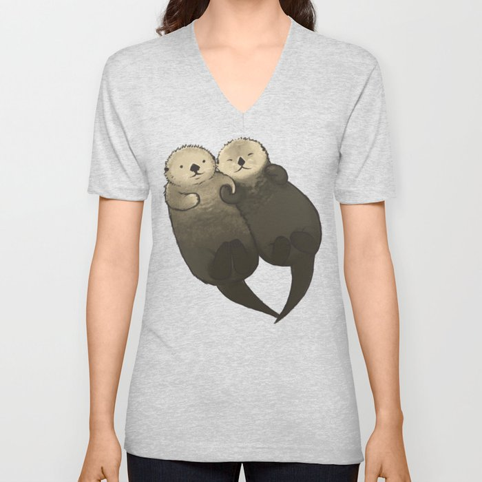 Significant Otters - Otters Holding Hands Unisex V-Ausschnitt