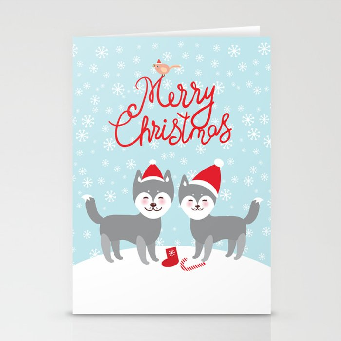 Husky Christmas Cards.Merry Christmas New Year S Card Design Funny Gray Husky Dog In Red Hat Kawaii Face With Large Eyes Stationery Cards By Ekaterinap