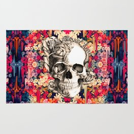 You are not here Day of the Dead Rose Skull. Rug