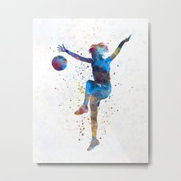 Woman soccer player 12 in watercolor Metal Print