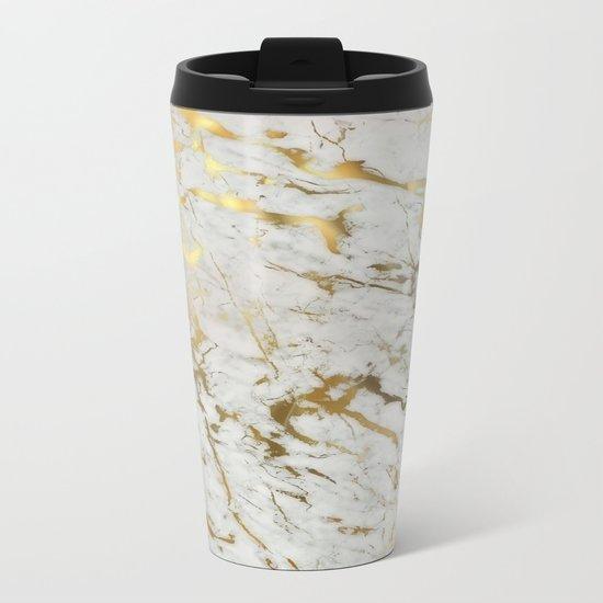 Gold marble Metal Travel Mug
