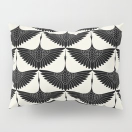 CRANE DESIGN - pattern - Black and White Pillow Sham
