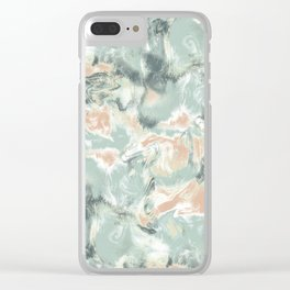 Marble Mist Green Peach Clear iPhone Case
