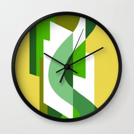 SUISSE - Art Deco Modern: GREEN SCENE Wall Clock