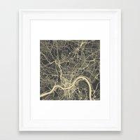 cincinnati Framed Art Prints featuring Cincinnati Yellow by Map Map Maps