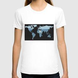 World Map Silhouette - Sailing T-shirt