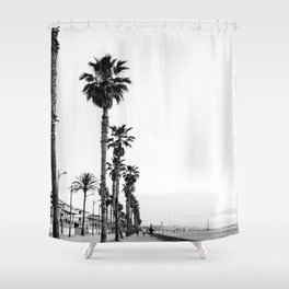 Playa de Valencia | Black and white photograph of the boulevard & beach | travel art Shower Curtain