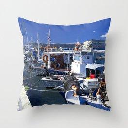 Fishing boats of Corfu Town Throw Pillow