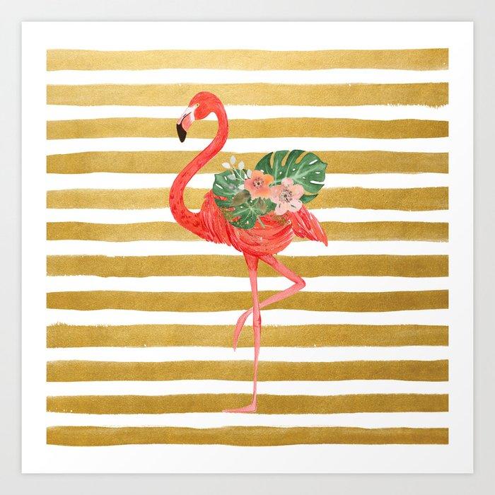 Flamingo Watercolor Art Golden Stripes Art Print