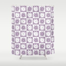 Purple And White Checkered Flower Pattern Shower Curtain