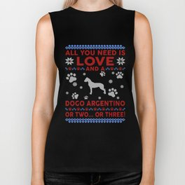 Dogo Argentino Ugly Christmas Sweater Biker Tank