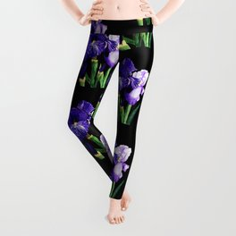 Bearded Iris Purple Flowers Leggings