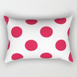 Large Polka Dots - Crimson Red on White Rectangular Pillow