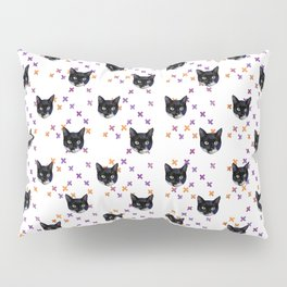 Cute Tuxedo Cat Faces with Pink Cross Bandaids Pillow Sham