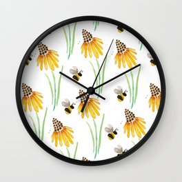 Rudbeckia Cone Flowers & Bumble Bees Wall Clock
