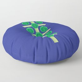 Vegetable: Brussels Sprout Blue Floor Pillow