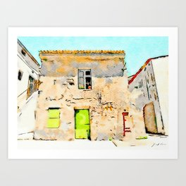 Tortora's building with small fountain Art Print