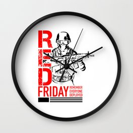 Red Friday Military 2 Wall Clock