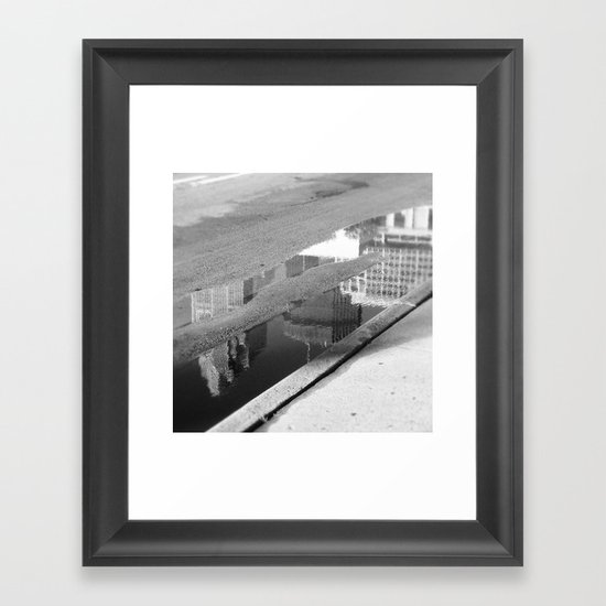 Downtown Reflection Framed Art Print