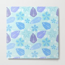 Abstract Floral Pattern Blue Green Purple Metal Print