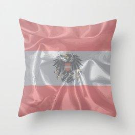 Silk Austrian Flag and Coat of Arms Throw Pillow
