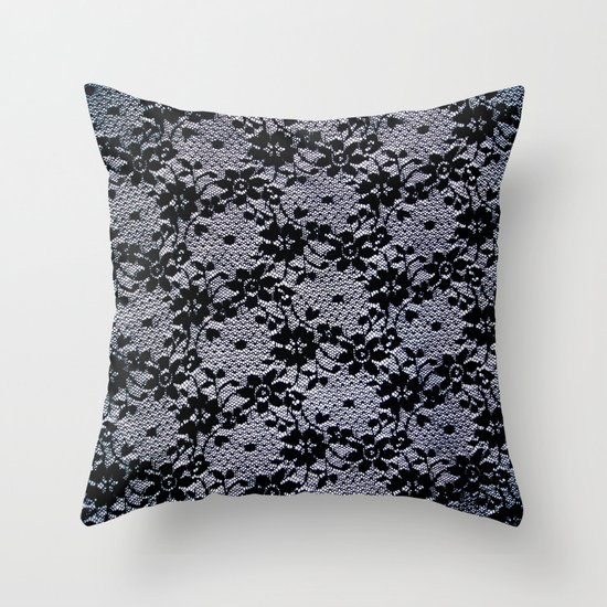 Throw Pillows With Lace : Black Lace Throw Pillow by Elena Indolfi Society6