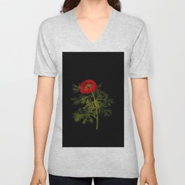 Paeonia Tenuifolia Mary Delany Vintage British Floral Flower Paper Collage Black Background Unisex V-Neck