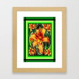 Old Fashioned Orange Day Lilies  Garden Pattern Framed Art Print