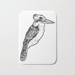 Black and White Kookaburra Illustration Bath Mat