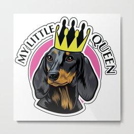 Black and tan female dachshund head Metal Print