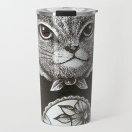 Pink Cat - Ink and acrylic cat art Travel Mug