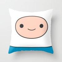 finn Throw Pillows featuring Finn by Expired Kimchi