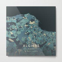 Algiers, Algeria - Cream Blue Metal Print