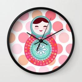 doll matryoshka, pink and blue, pink polka dot background Wall Clock