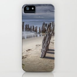 Footprints and Pilings on the Beach at Kirk Park by Grand Haven Michigan iPhone Case