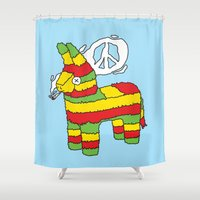 rasta Shower Curtains featuring Rasta pinata by Dmitriylo