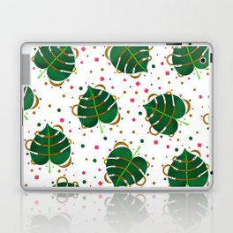 Monstera Leaves with Gold Pink and Green Geometric Confetti Laptop & iPad Skin