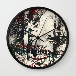 Shy Peacock Print Wall Clock