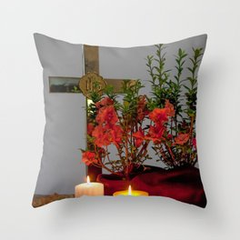 Cross with candles and flowers Throw Pillow