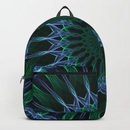 Neon blue and green mandala Backpack