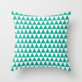 Emerald and White Triangle Pattern Throw Pillow