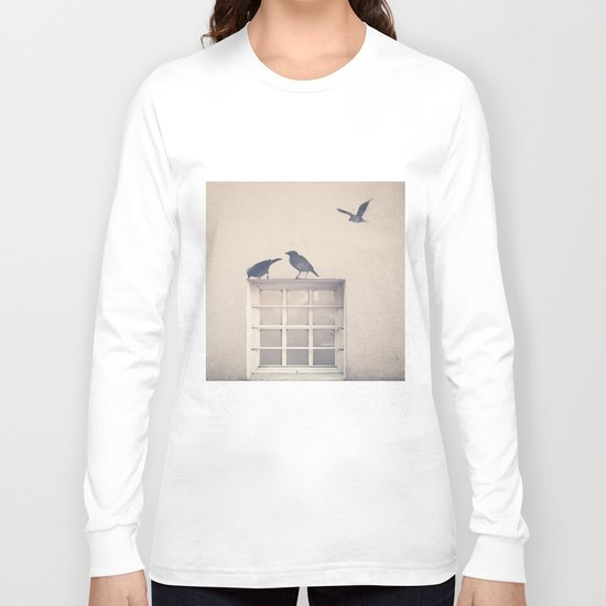Let me be a bird in your window - vintage retro, beige cream, urban, black and white photography Long Sleeve T-shirt