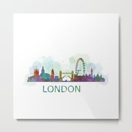 London UK Skyline HQ watercolor Metal Print