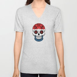 Sugar Skull with Roses and Flag of The Netherlands Unisex V-Neck