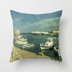 Heraklion old harbour Throw Pillow