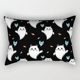 Cute Cat Ghost and Balloon, Black Background Rectangular Pillow